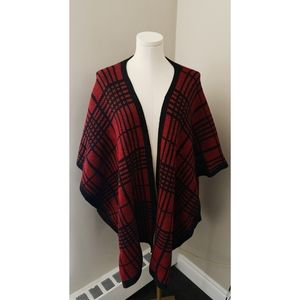 Nicole Miller Red and Black Plaid Cape